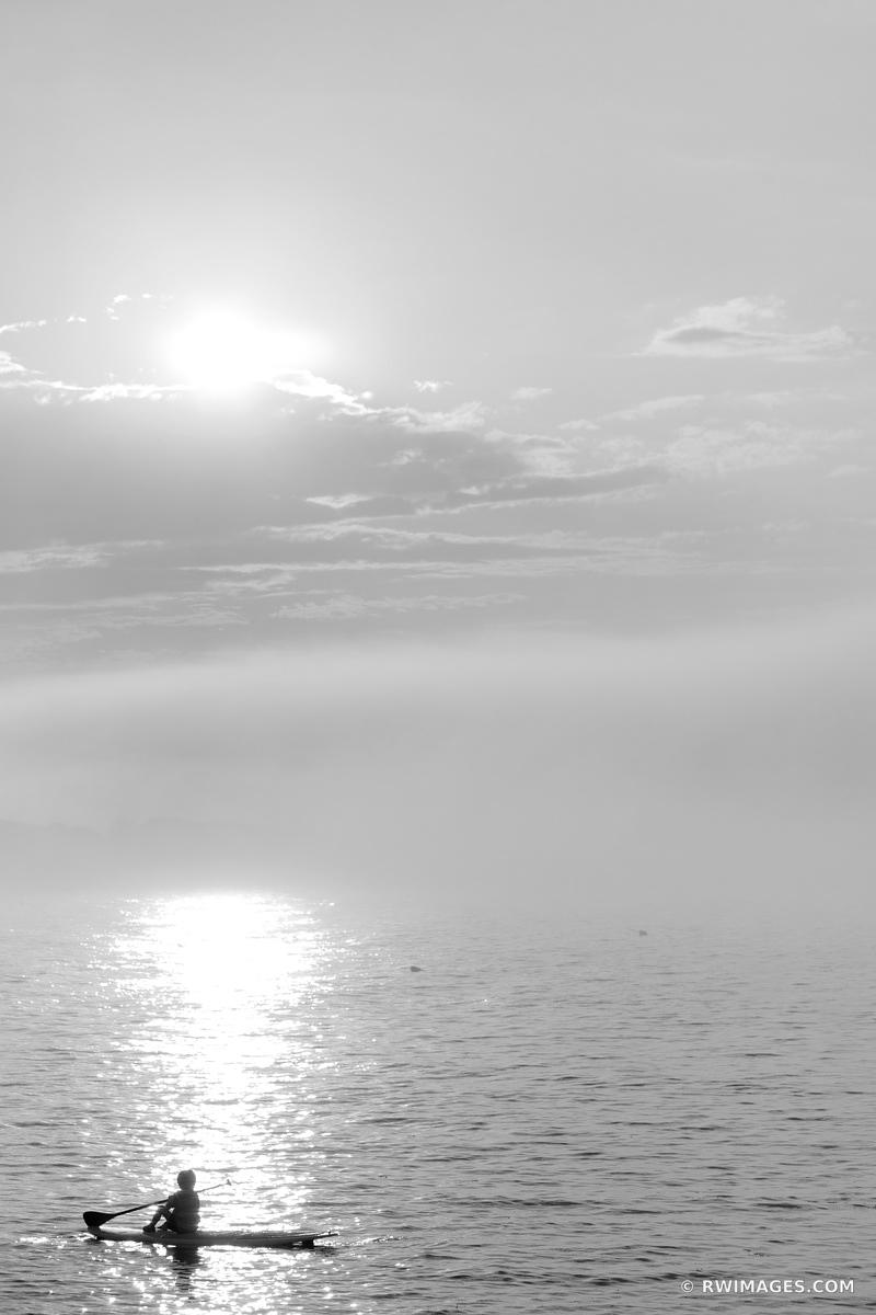 FOGGY SUNSET CAPE ANN MASSACHUSETTS BLACK AND WHITE VERTICAL
