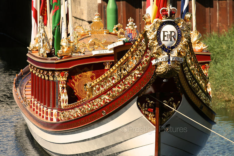 The Gloriana royal Row Barge with its Ornate paintwork and Royal Insignia