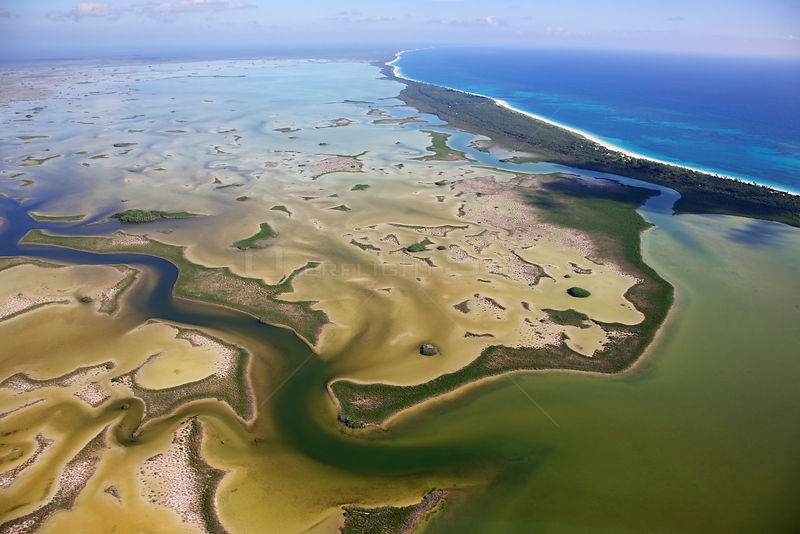 Aerial shot of the Laguna Sian Ka'an, freshwater lagoon, at edge of the sea, close to Boca Paila, Quintana Roo, Yucatan Penin...