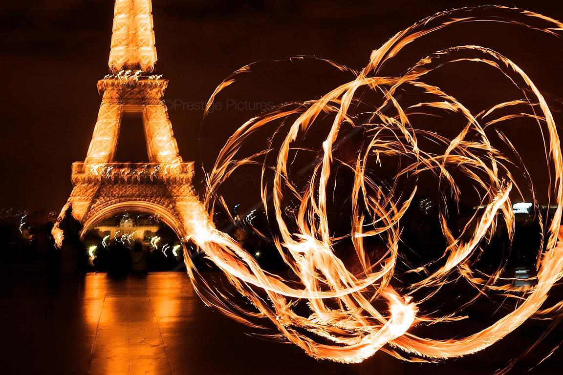 Fire Painting by the Eiffel Tower