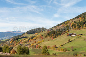 Beautiful countyside and mountains near Saint Magdalena in the South Tyrol, Italy.