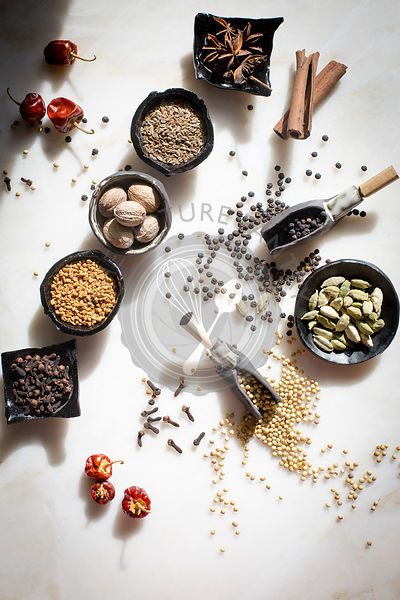 Spices and seeds - Cloves,Cardamom,Fenugreek seeds,Dil seeds,Nutmeg,Star anise,Coriander seeds,Black peppercorns,Cinnamon sti...