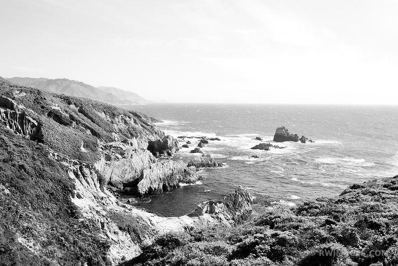 SOBERANES POINT GARRAPATA STATE PARK BIG SUR CALIFORNIA BLACK AND WHITE