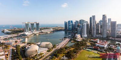 Panoramic of downtown and Marina bay Sands Singapore