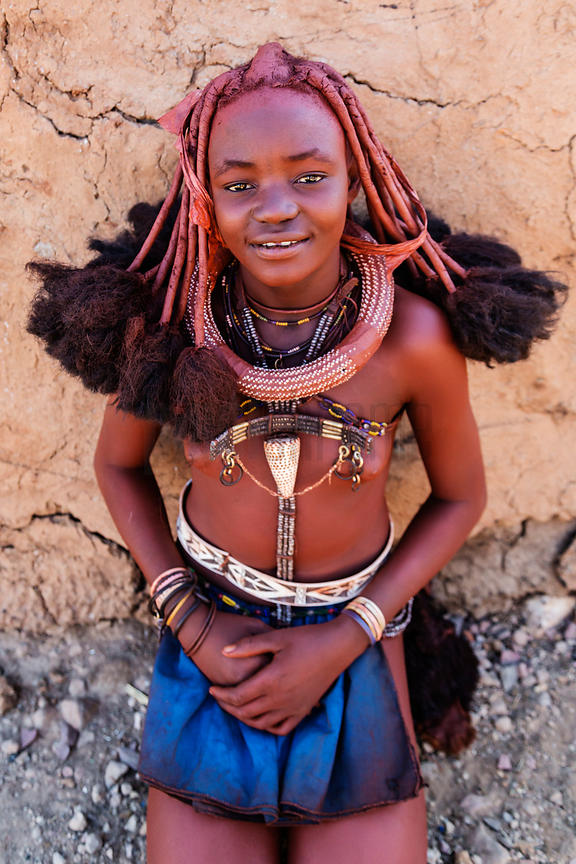 Portrait of a Himba Girl with Hair Extensions