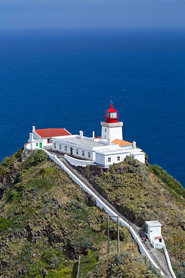 Goncalo Velho lighthouse, Ponta do Castelo, Eastern Santa Maria Island, Azores, Portugal, Atlantic Ocean. August 2014.
