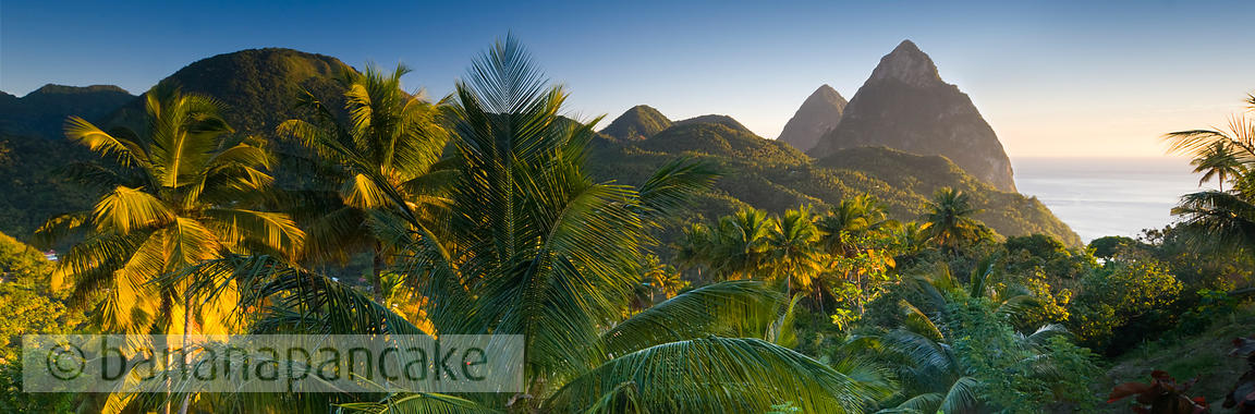 Panoramic view of the Pitons, near Soufriere, St Lucia, Windward Islands, Caribbean.