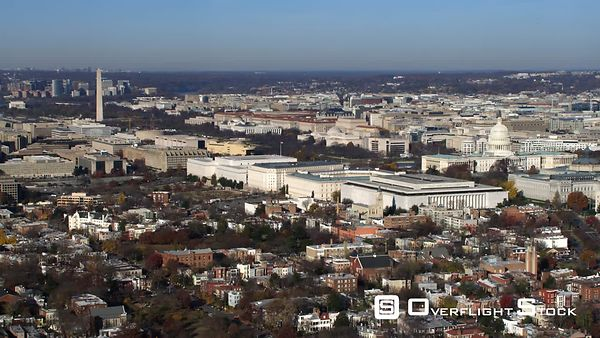 Wide View of National Mall and Capitol Hill in Washington DC  Flight Crosses Pennsylvania Avenue.