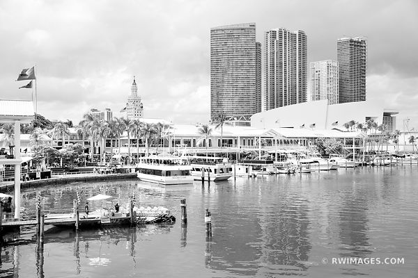 BAYSIDE WATERFRONT DOWNTOWN MIAMI FLORIDA BLACK AND WHITE