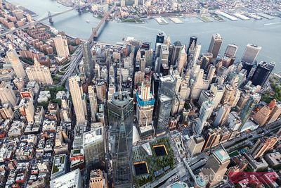 Aerial of lower Manhattan at sunset, New York city, USA