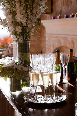 A tray of champagne flutes at a luxury restaurant