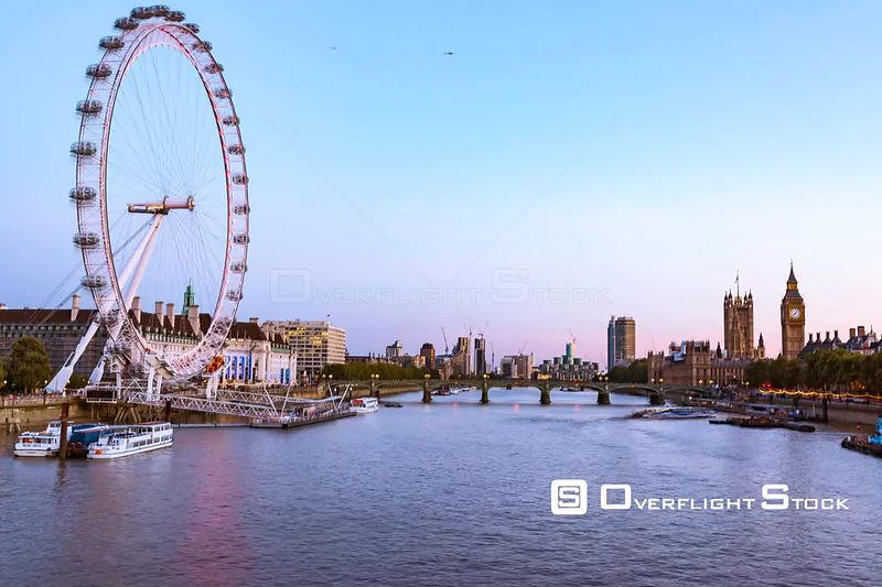 Time Lapse London Eye and Big Ben on the River Thames London England