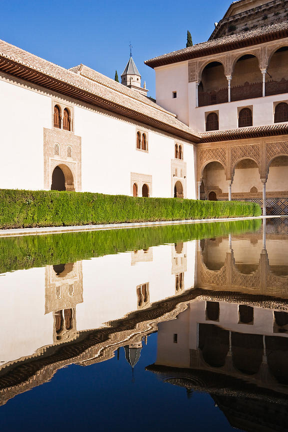 Courtyard and Pond Alhambra Palace Gardens Granada Andalusia Spain