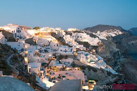 Sunset over village of Oia, Santorini, Greece
