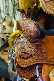 Stock photo of western saddles