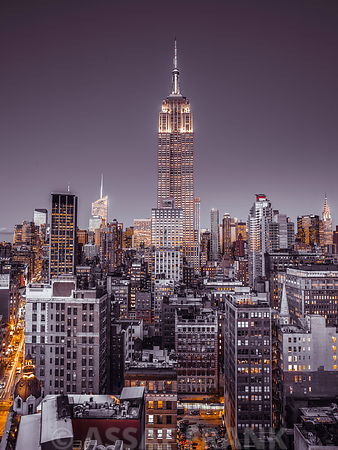 Empire State Building with New York City Manhattan skyline with skyscrapers