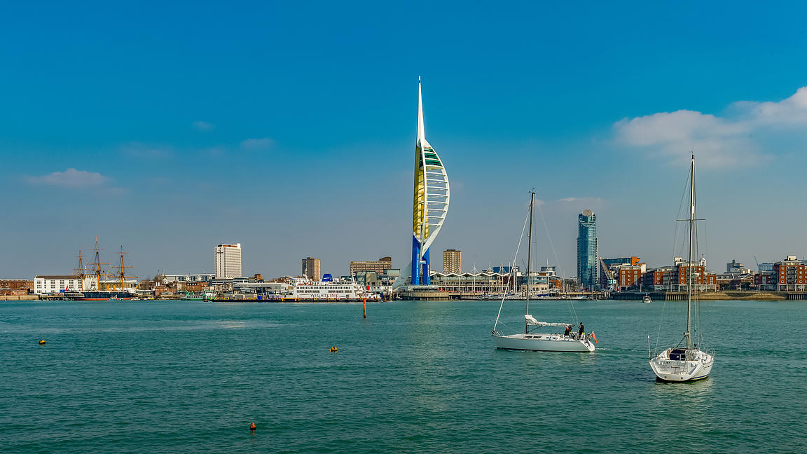 View Across Portsmouth Harbour, With Spinnaker Tower, Gunwharf Quays and HMS Warrior in the Background