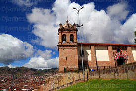 San Cristobal church with city in background, Cusco, Peru