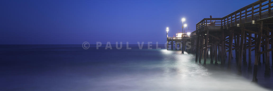 Image: Newport Beach Balboa Pier at Night Panorama Photo Large