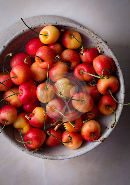 Rainier cherries in a ceramic bowl
