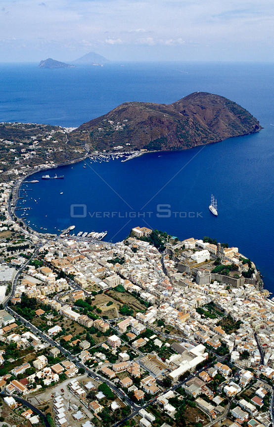 View over Lipari, Lipari Islands, Italy.