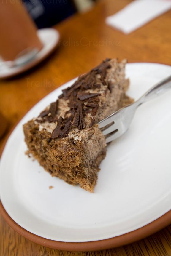 A chocolate cake with brasil nuts named Nelson Mendella is not to be missed at Granja Hiedi in Cuzco, Peru