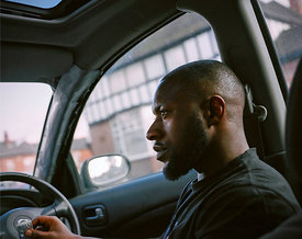 Marcus in car, Albion Road, Handsworth