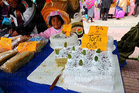 Stall selling cakes made from coca leaf flour at trade fair promoting alternative products made from coca leaves , La Paz , B...