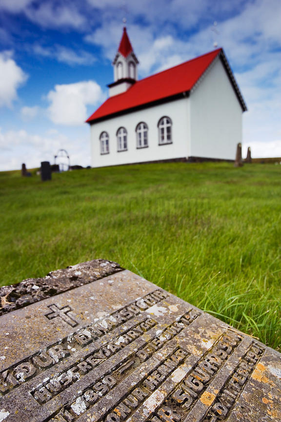 Icelandic Country Church and Gravestone Inscription, Iceland