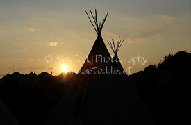 Tepees at the Wickerman Music Festival 2014, Dundrennan Farm, Dumfries,, Scotland