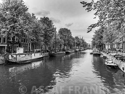 Canal with boats, Amsterdam