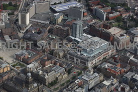 Leeds aerial photograph of the Leeds Art Gallery and the Light Shopping and Entertainment Centre The Headrow