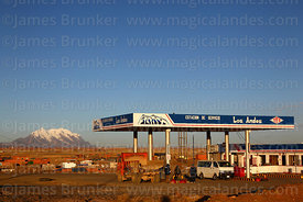 """Los Andes"" service station on outskirts of El Alto, Mt Illimani in background, Bolivia"