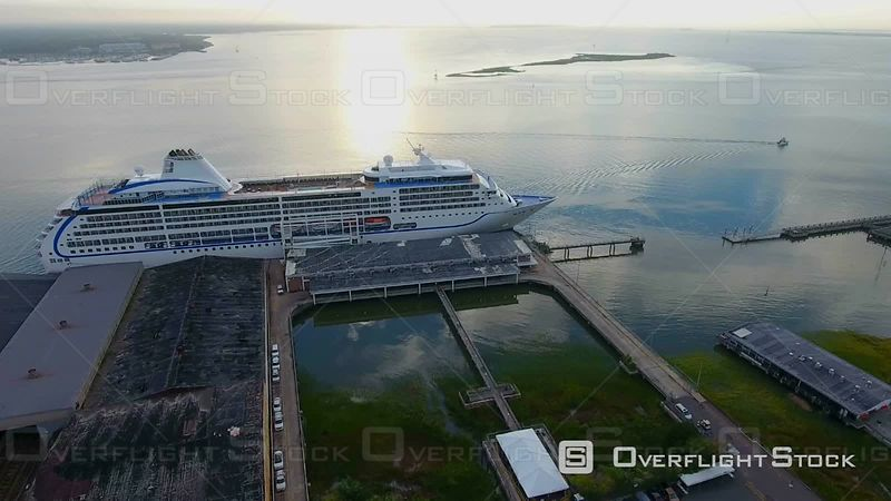 4k Aerial Cruise Ship In Charleston SC Harbor