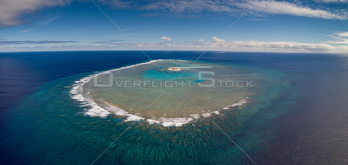 Aerial view of Ceva-I-Ra Reef also known as Conway Reef a small coral reef atoll, Fiji. August 2017.