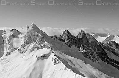 Black and White of The Leaning Towers Purcell Mountains BC Canada