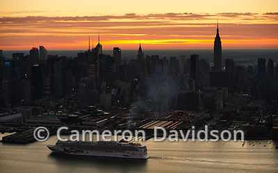 Aerial photograph at sunrise of New York City office buildings and skyline