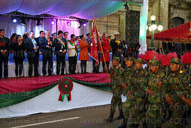 Members of the armed forces parade past Bolivian president Evo Morales Ayma and officials on the official podium during the Desfile de Teas / Torch Parade to commemorate the July 16th 1809 uprising, La Paz, Bolivia