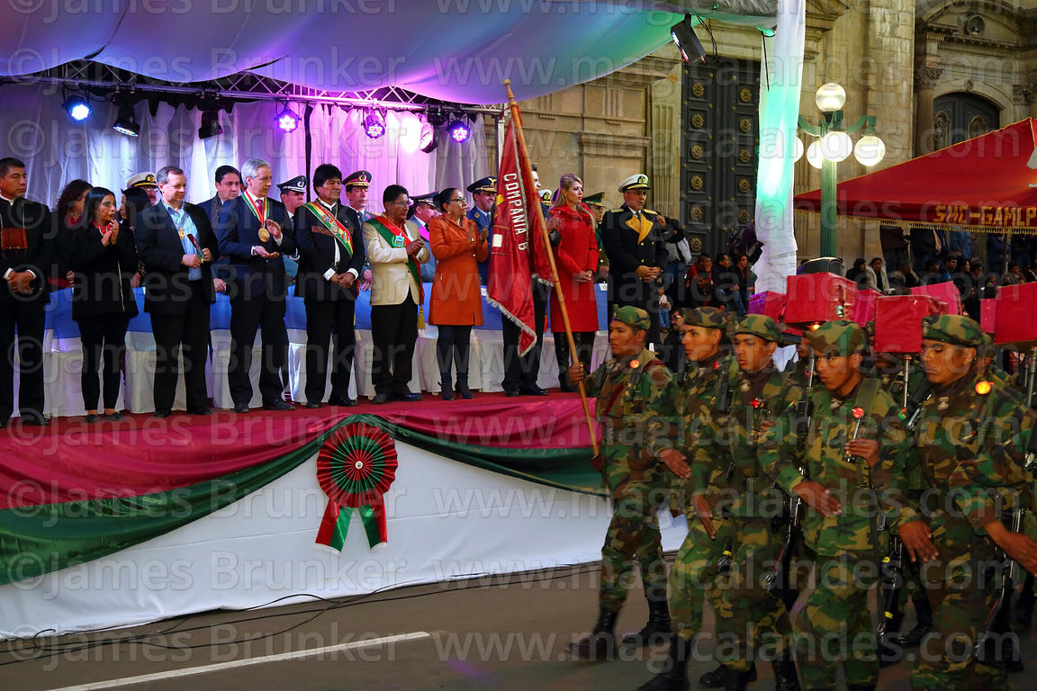 Members of the armed forces parade past Bolivian president Evo Morales Ayma and officials on the official podium during the D...
