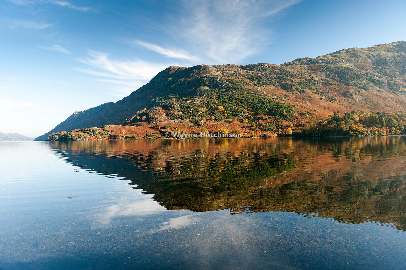 Silver Point on Ullswater seen from Glencoyne on an autumns morning, Lake District National Park, UK.