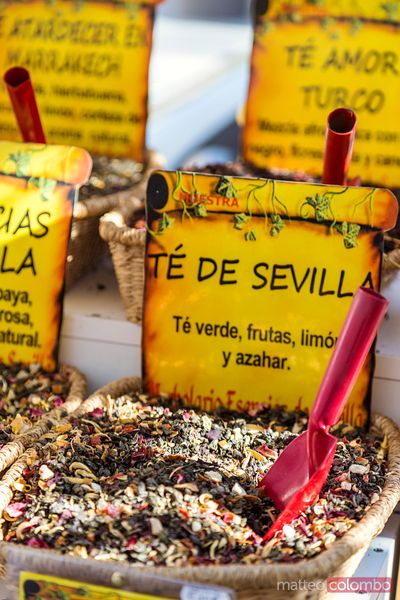 Tea leaves for sale at local market, Andalusia, Spain