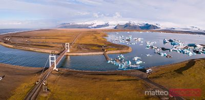 Aerial pano view of Jokulsarlon glacial lake at sunrise, Iceland