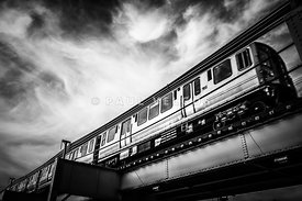 Chicago L Elevated Train in Black and White