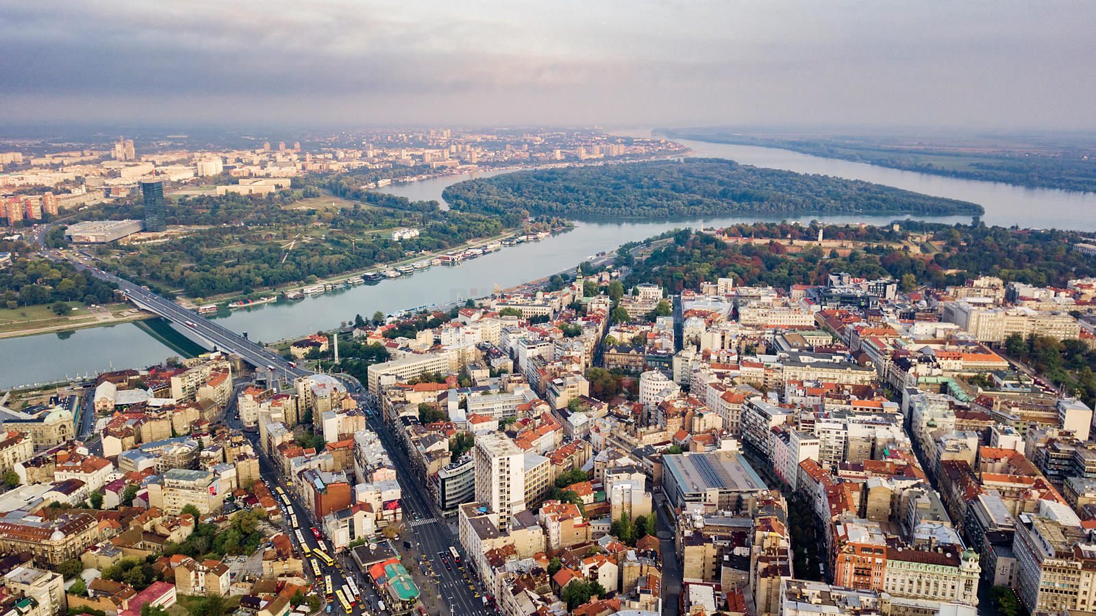 Aerial View over the City of Belgrade Looking NW towards Great War Island