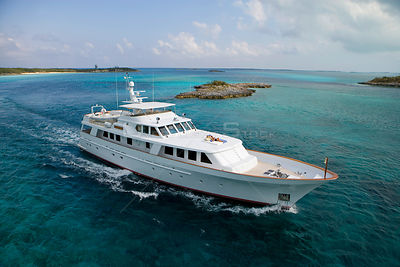 "117' Delta ""Gatster"" cruising in the Exumas, Bahamas. February 2007. Property released."