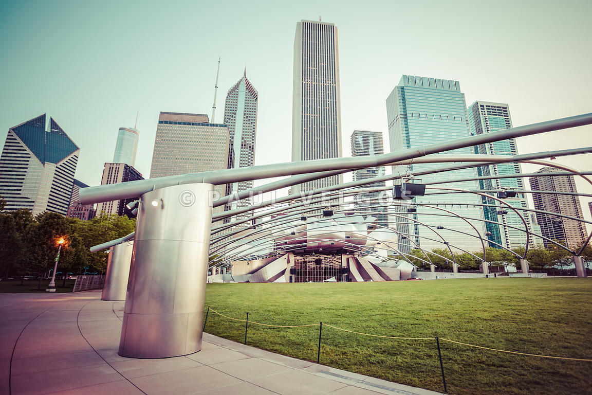 Chicago Skyline with Pritzker Pavilion Vintage Picture