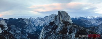 Panoramic sunset over Half Dome, Yosemite, California, USA