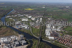 Manchester high level view of Carrington and Cadishead Industrial Estates and Carrington Power Station