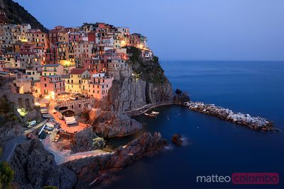 Manarola at night in the Cinque Terre Italy