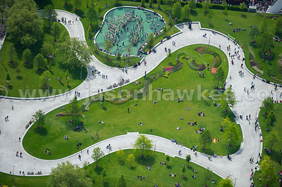 Aerial view of Jubilee Gardens, London
